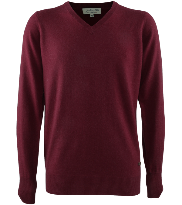 Pull col V cachemire Luce red