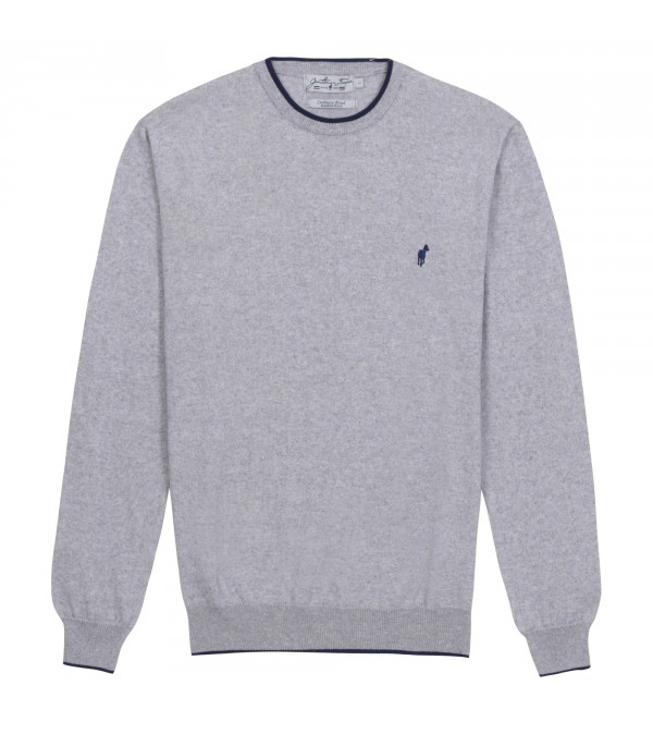 Pull col rond Lois mix grey