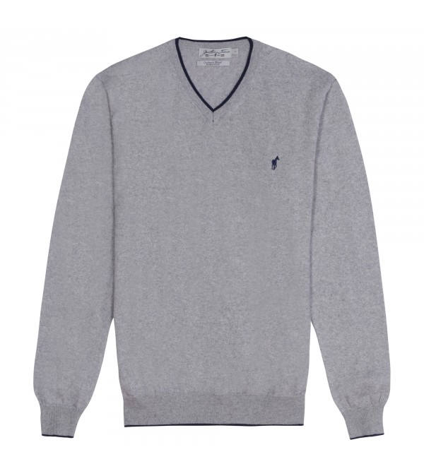 Pull col V Lucky mix grey